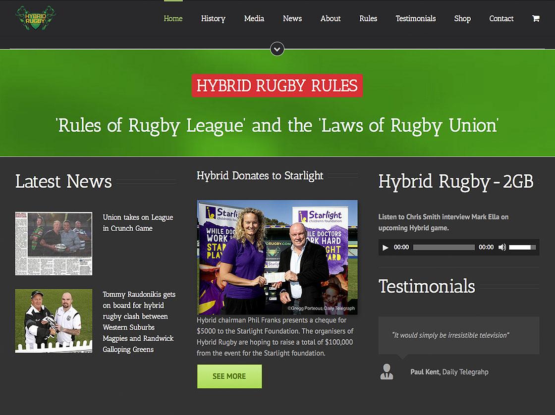 sydney website design for Hybrid Rugby